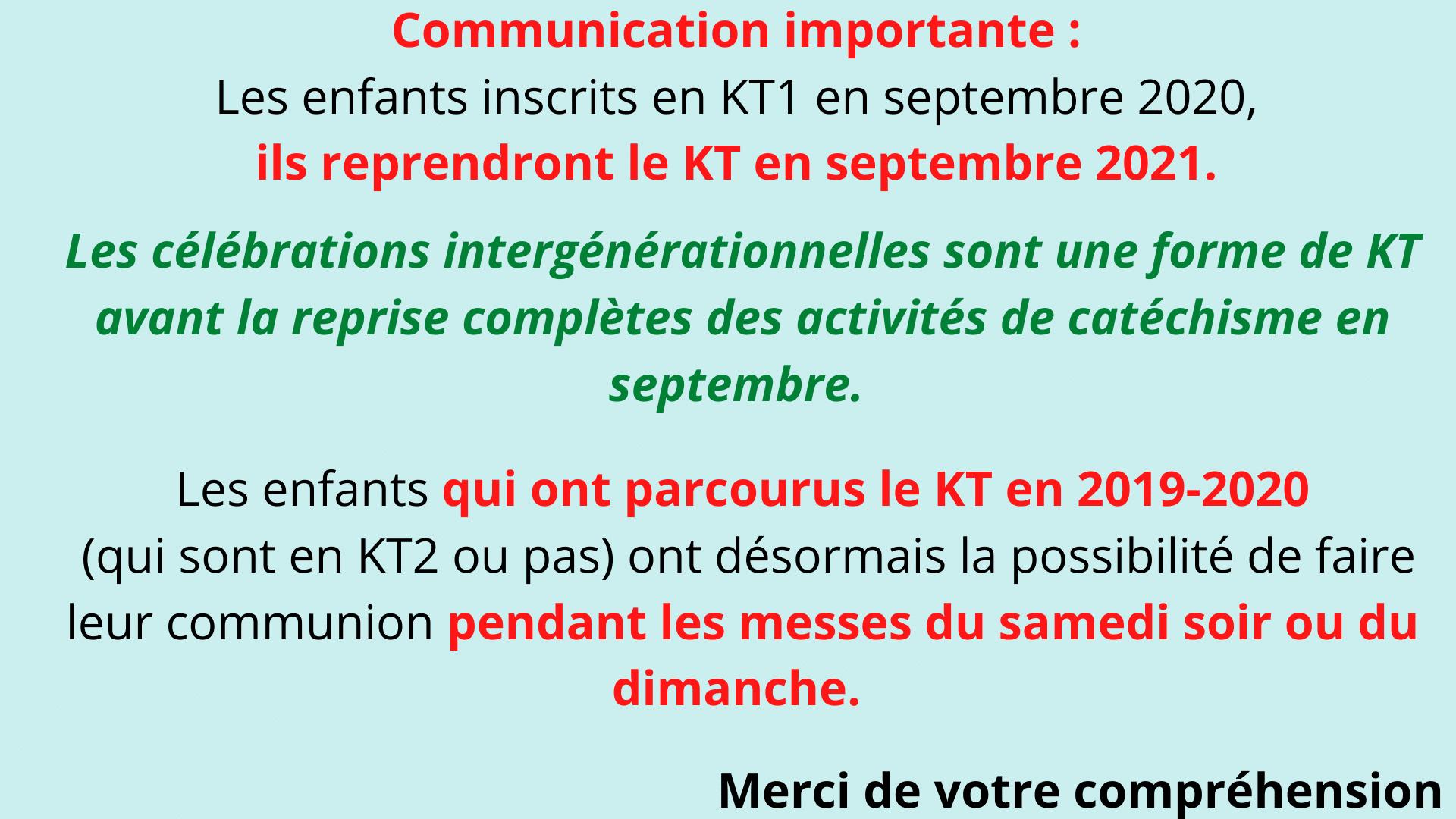 Communication importante KT1