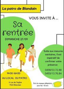 Read more about the article Reprise du Patro de Blandain ce wend 27/09/2020
